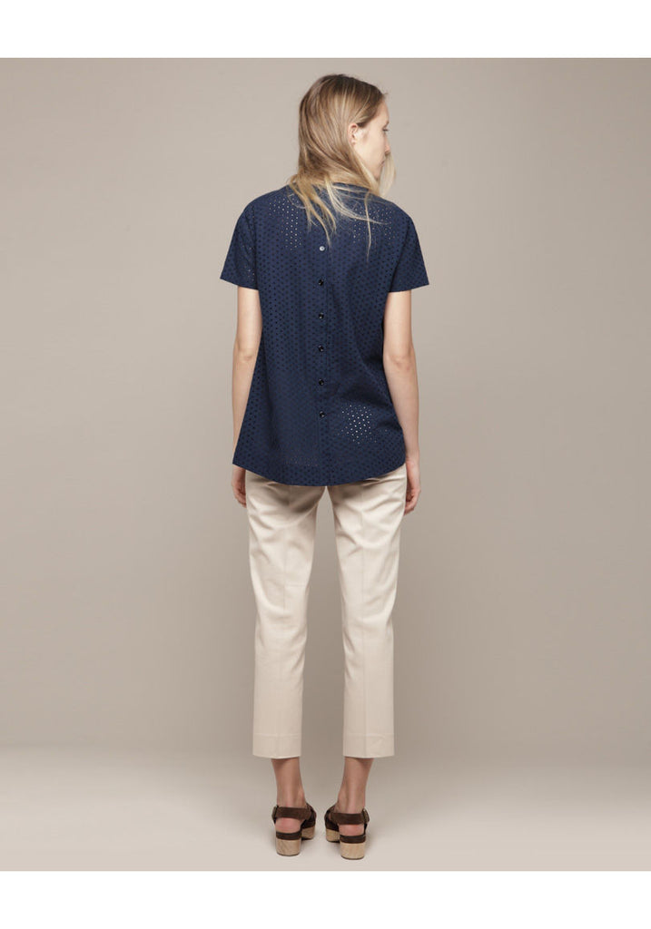 Button Back Eyelet Top