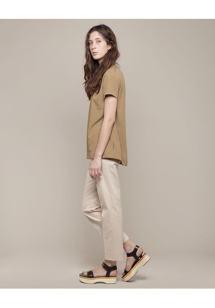 Short Sleeved Twill Blouse