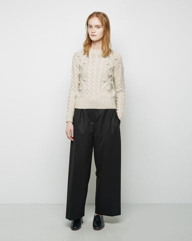 Cropped Wide Leg Flannel Pant