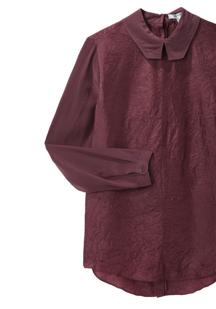 Wrinkled Silk Top with Button Back