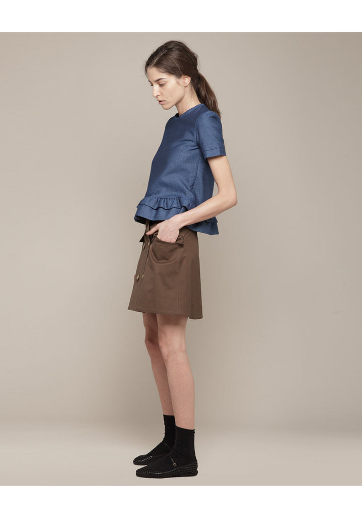 Charles Ruffle Denim Top