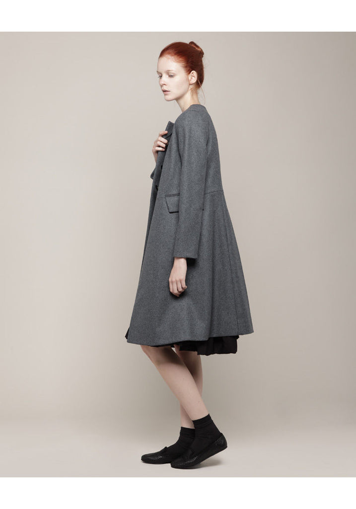 Collarless Wool Coat