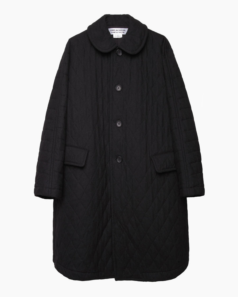 Round Collar Quilted Wool Coat