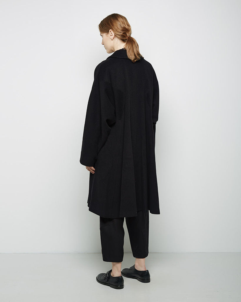 Round Collar Relaxed Wool Coat