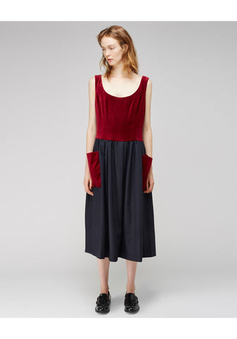 Velvet Patch Pocket Dress