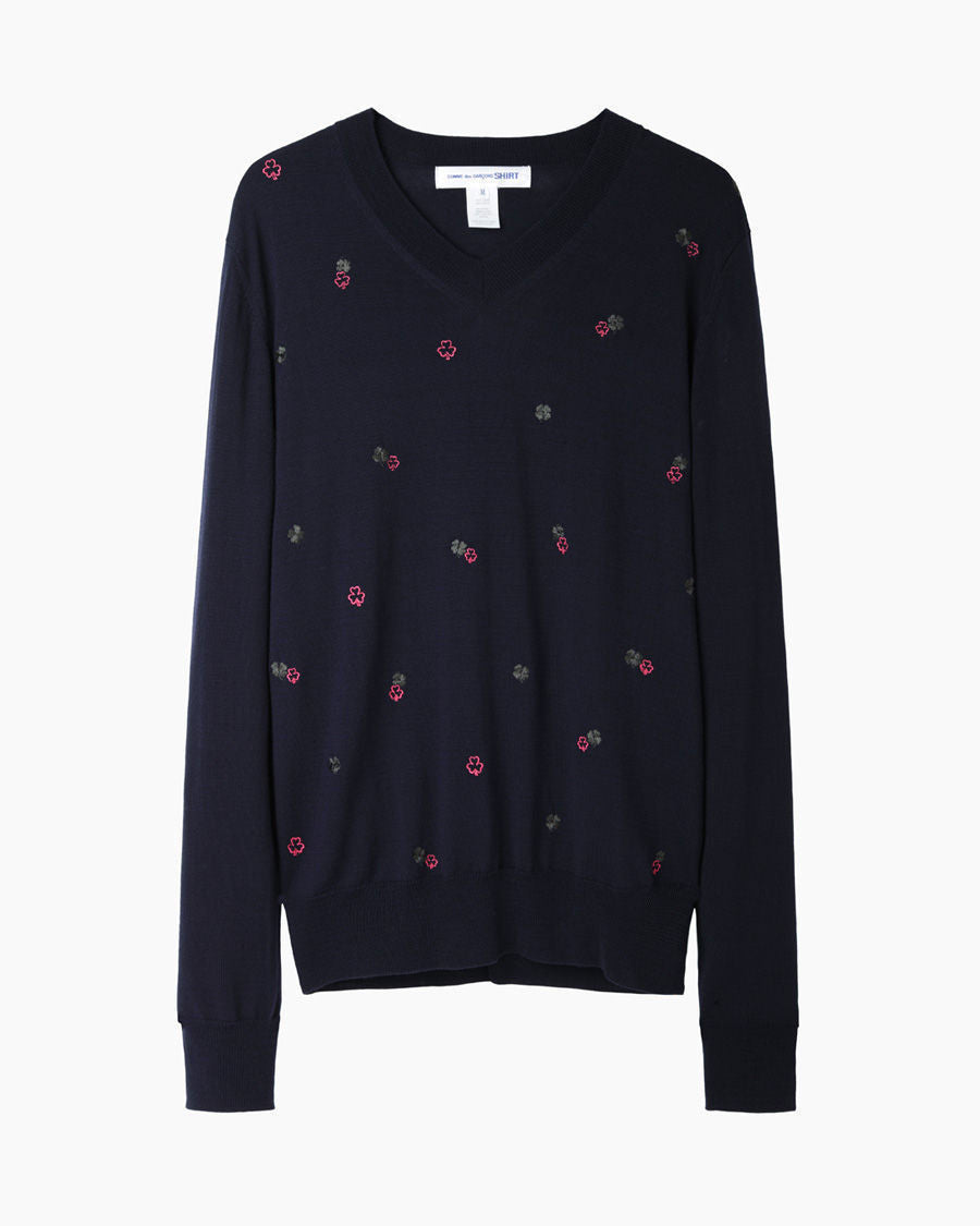 Embroidered Clover Pullover