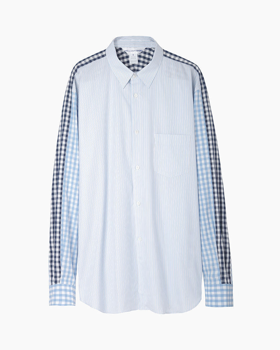 Gingham Sleeve Striped Shirt