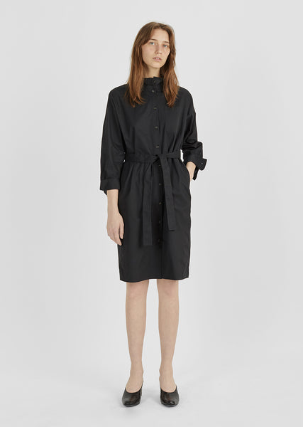 Cotton Ruffle Collar Shirtdress