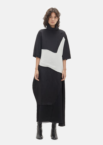 Dilona Patchwork Turtleneck Dress