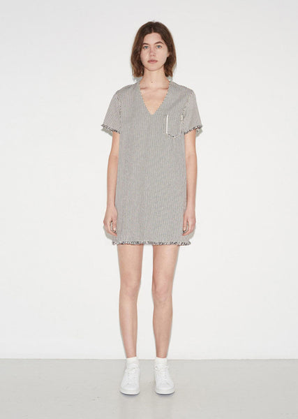 T by Alexander Wang Frayed Striped Cotton Dress La Garconne