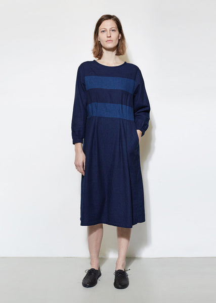BLUE BLUE JAPAN Indigo Flannel Cutover Dress La Garconne