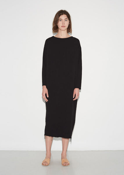 Black Crane Quilted Long Dress La Garconne