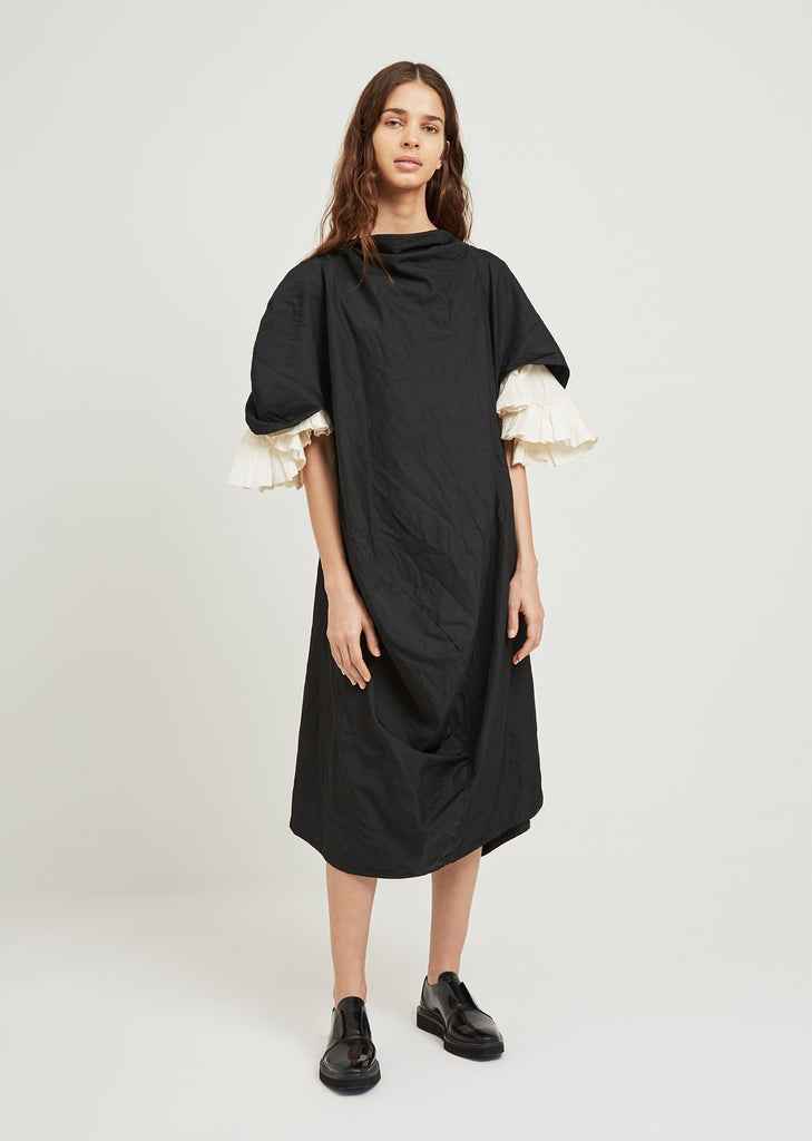 Ruffle Sleeve Twill Dress