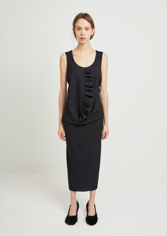 Wool Gabardine Ruffle Dress