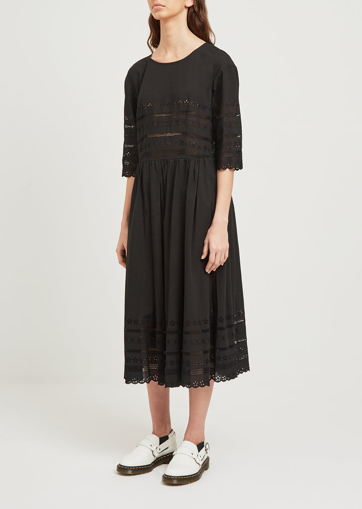 3/4 Sleeve Embroidered Dress