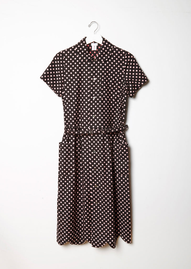 Cotton Satin Dot Print Shirtdress