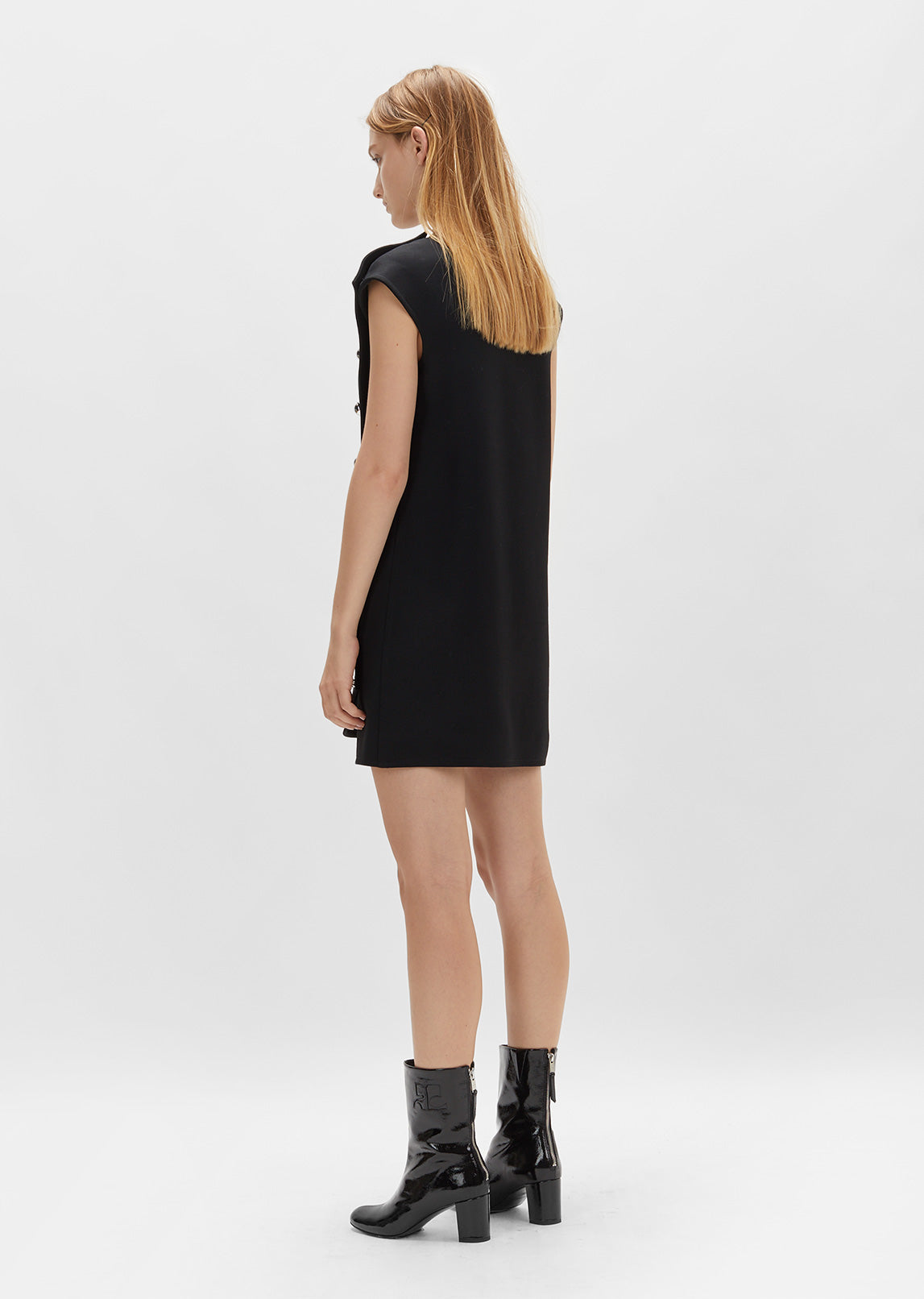 Double Breasted Panel Shift Dress
