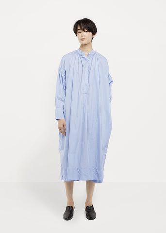 Cotton Poplin Gathered Smock Dress