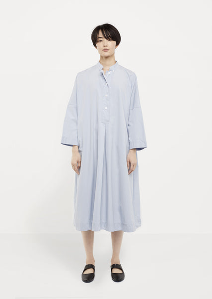 Invert-Pleat Poplin Smock Dress