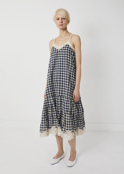 Cotton Gingham Lace Dress