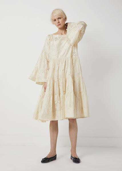 Silk Long Sleeve Tiered Dress