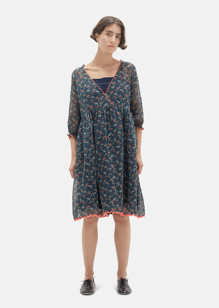 Floral Printed Cotton Silk Dress