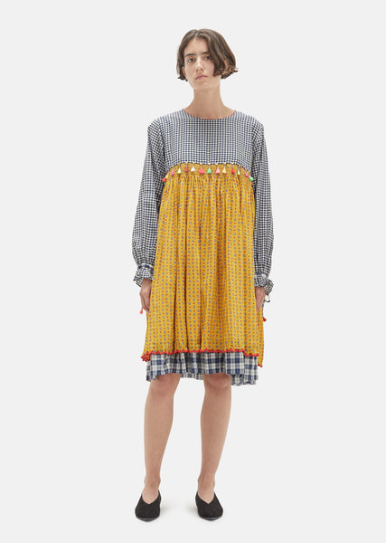 Checkered Tassel Yoke Dress