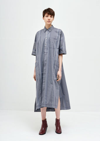 Square Cotton Short Sleeve Shirt Dress