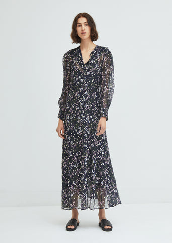 Maxene Floral Print Silk Dress