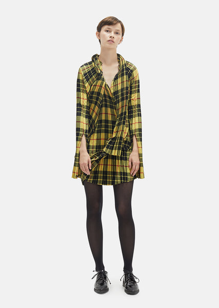 Wool Tartan Pleated Dress