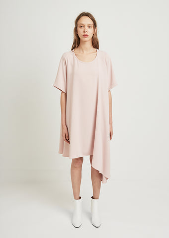 Waterfall Asymmetric Short Sleeve Dress