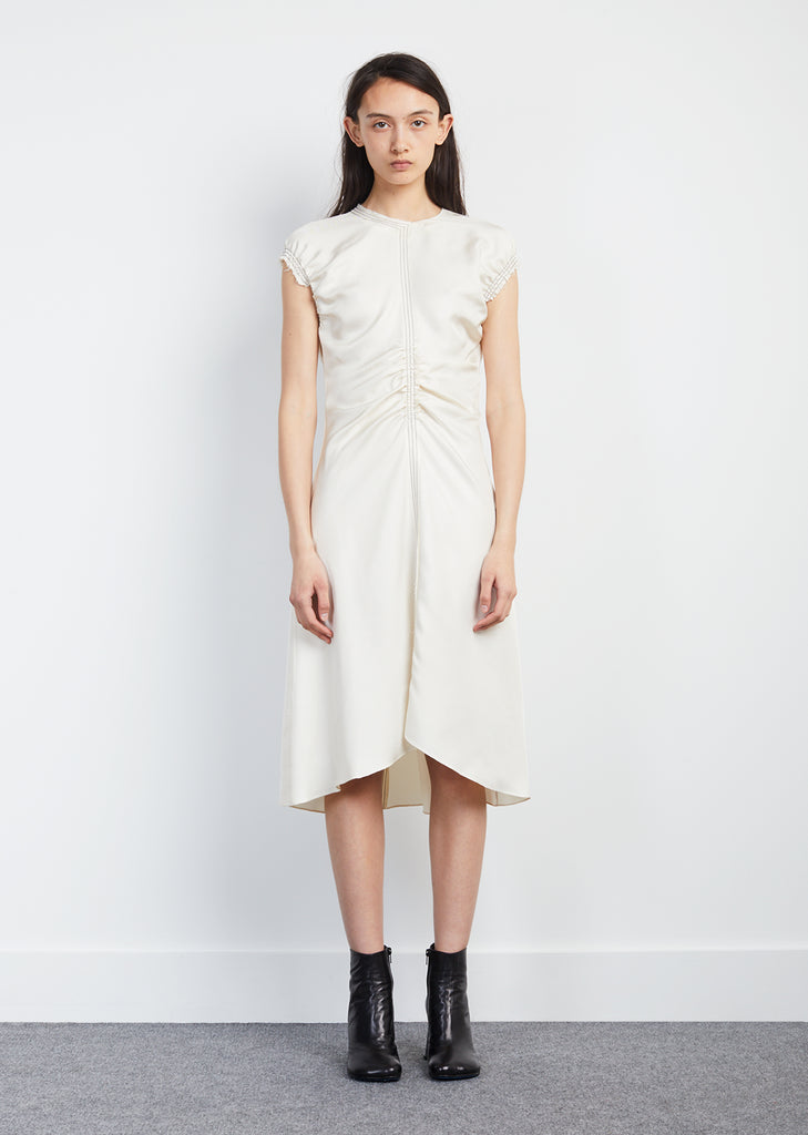 Sleeveless Silk Twill Gathered Dress