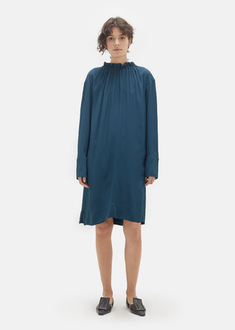 Washed Silk Highneck Dress