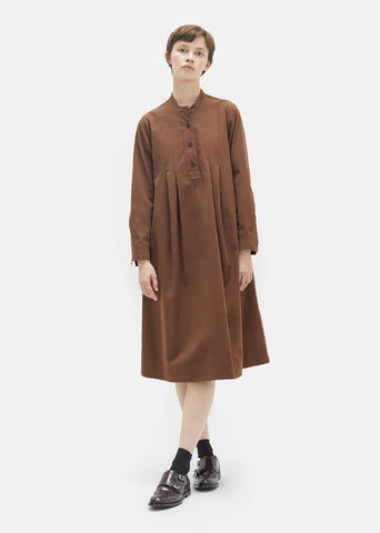 Brushed Twill Collarless Smock Dress