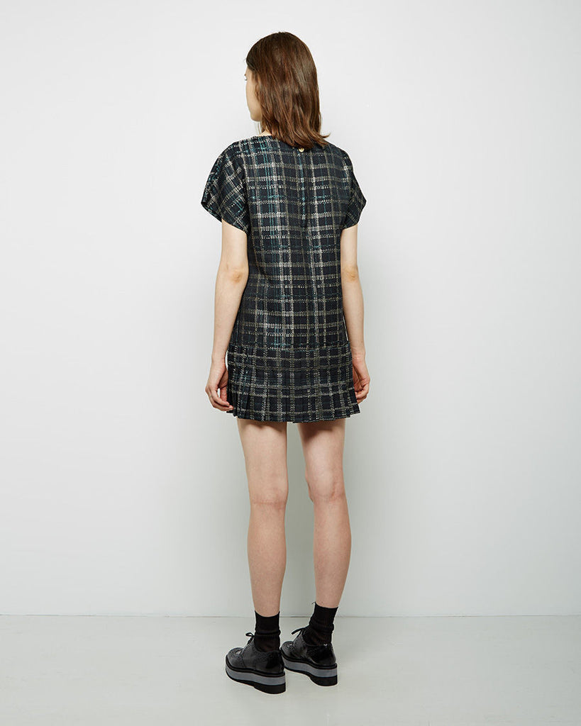 Pleated Jacquard Check Dress