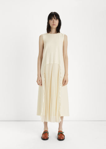 Stretch Wool & Pleated Chiffon Dress