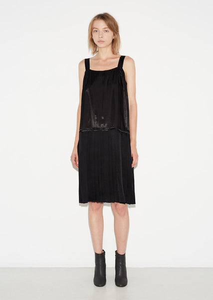 Maison Margiela Heavy Satin Plisse Dress La Garconne