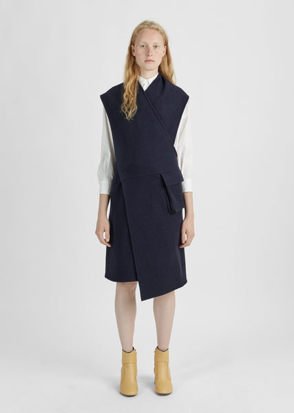 Boiled Wool Wrap Dress