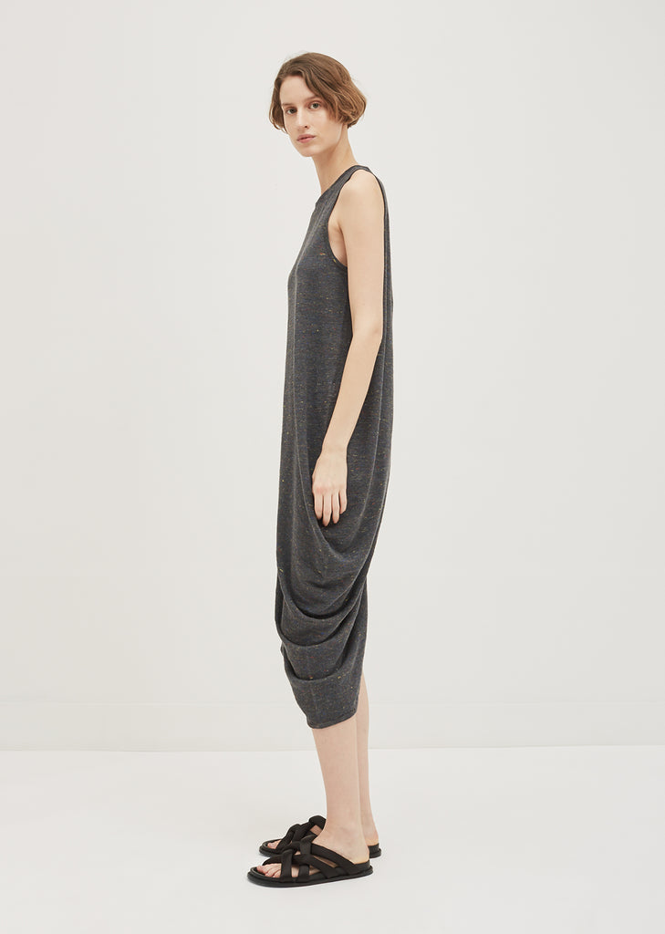 Linen Blend Melange Knit Dress