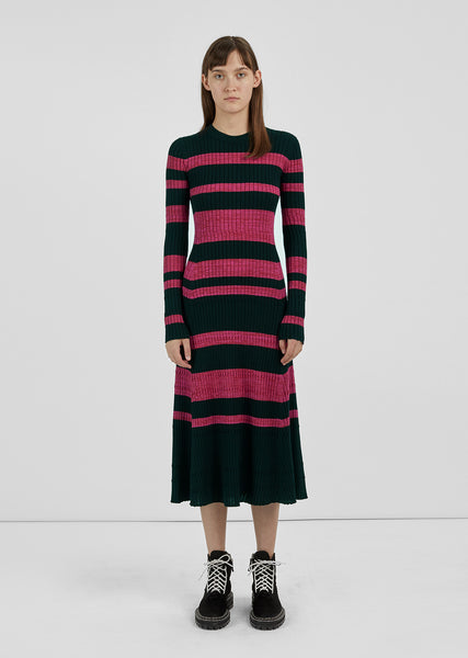 Ultrafine Striped Rib Dress