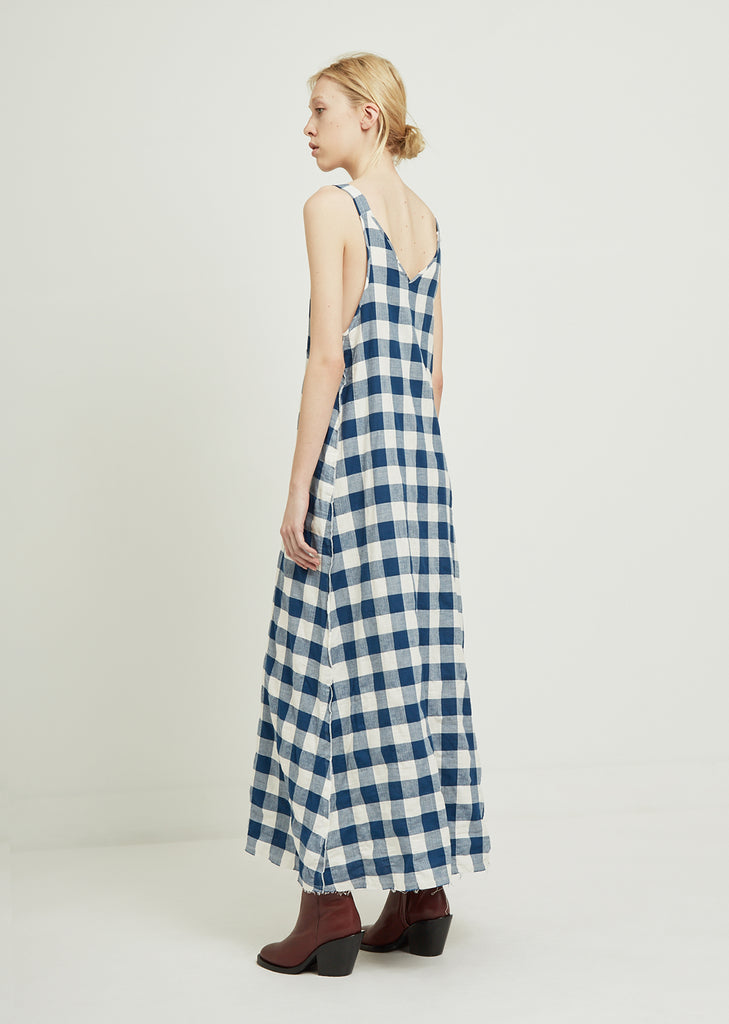 Check Long Slip Dress