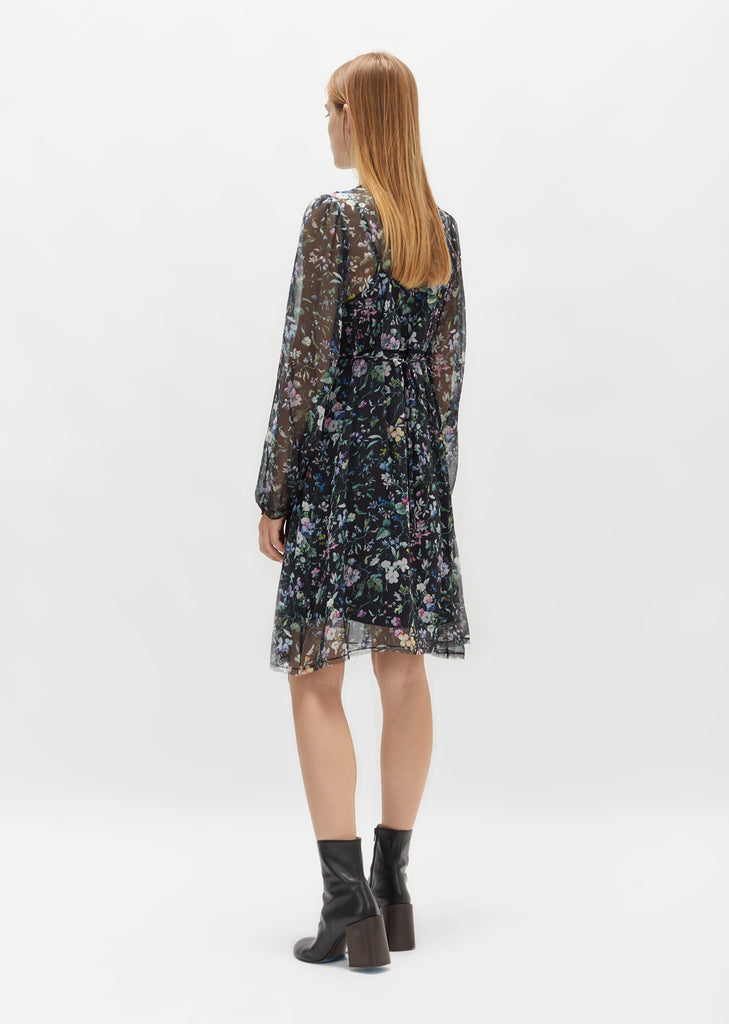 Long Sleeve Botanical Mini Dress
