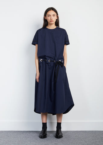 Cotton Poplin Grosgrain Belted Dress