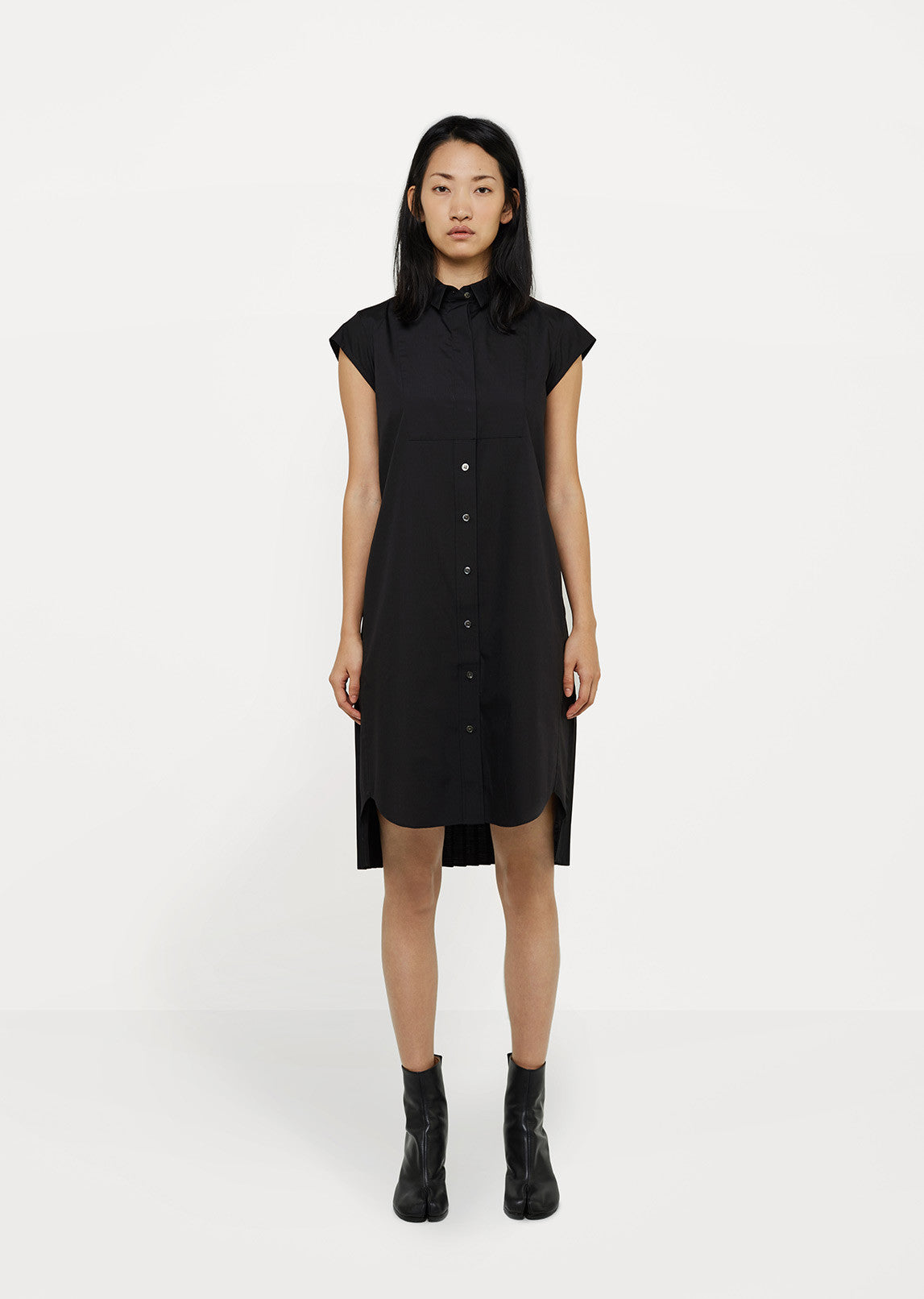 Cotton Poplin Shirt Dress With Back Pleats By Sacai La Garonne