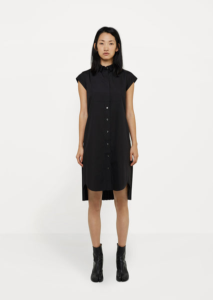 Cotton Poplin Shirt Dress with Back Pleats