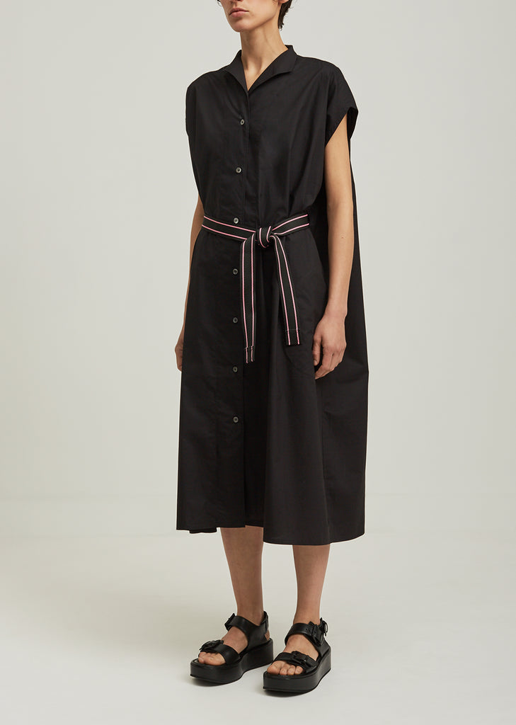 Cotton Belted Button Up Dress