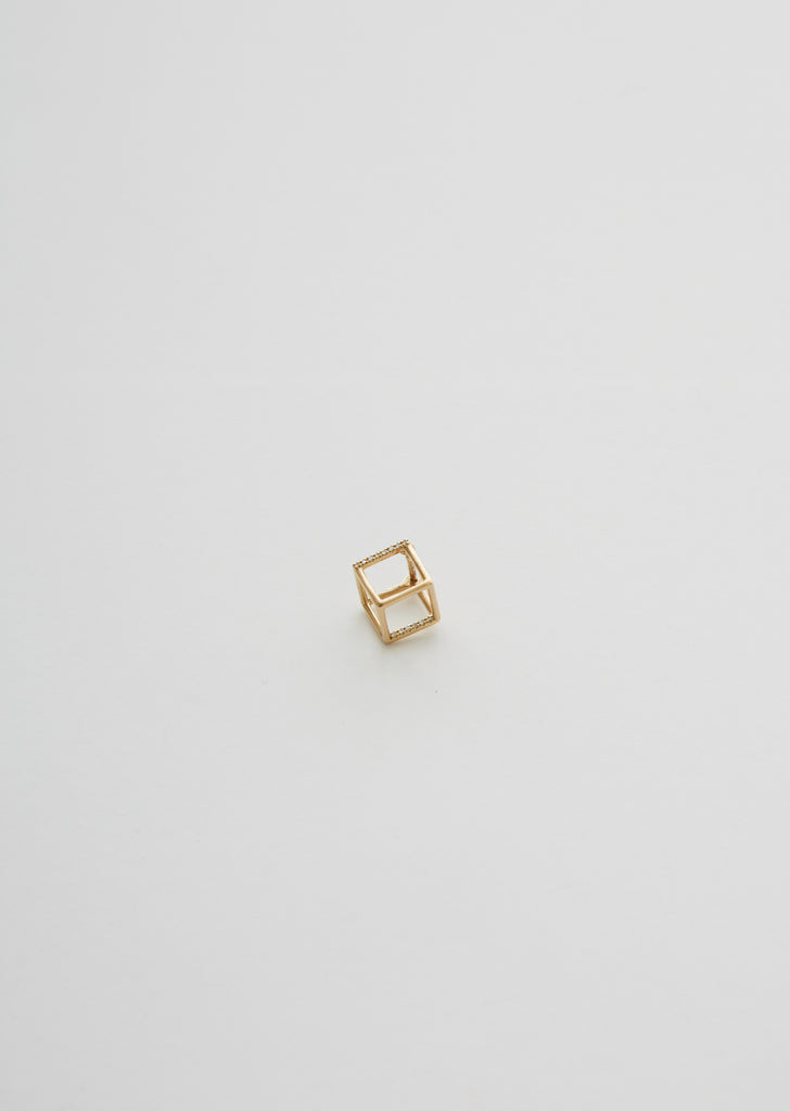 3D Square Earring 01 with Diamond — 7mm