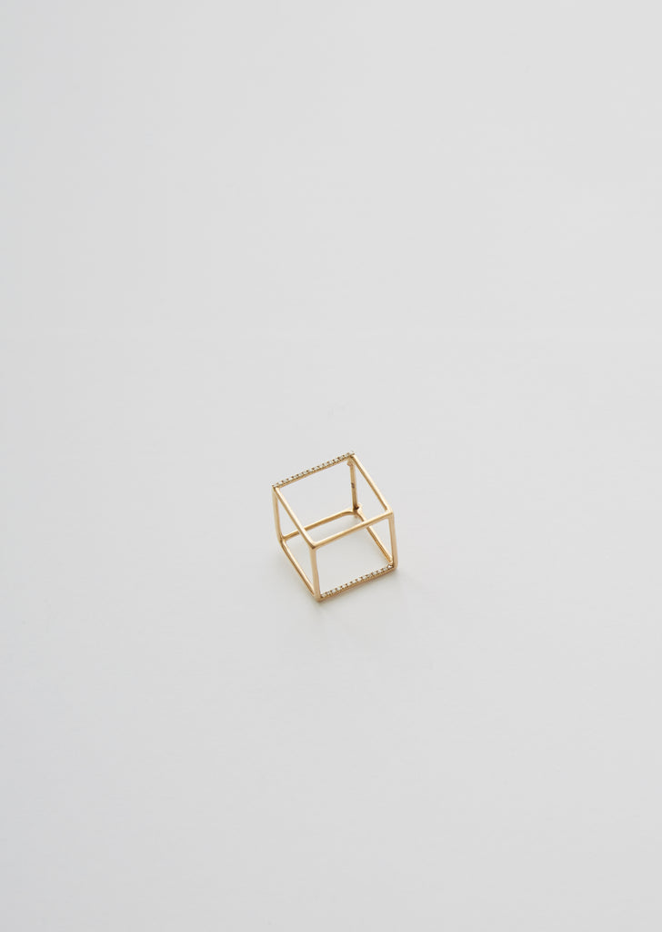 3D Square Earring 01 with Diamond — 15mm