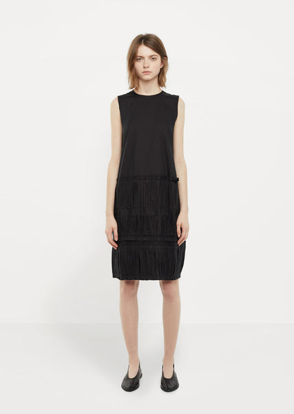Pleated Appliqué Cotton Popeline Dress