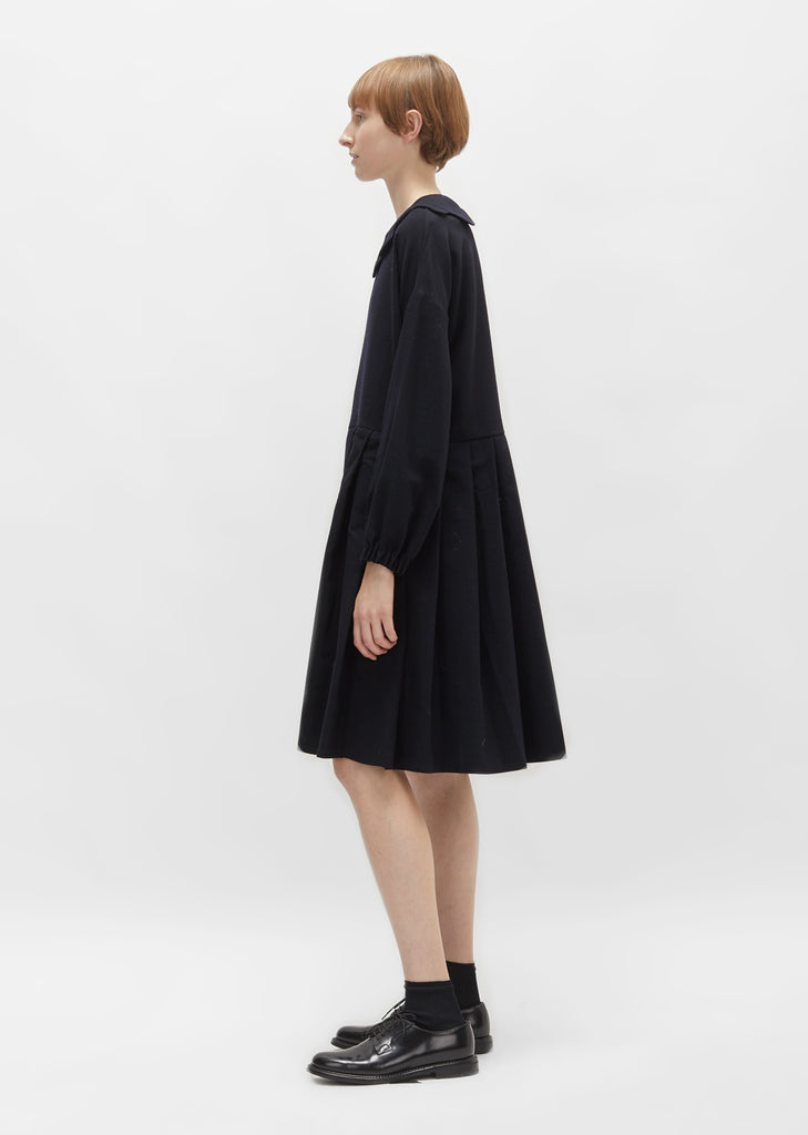 Scallop Collar Wool Dress